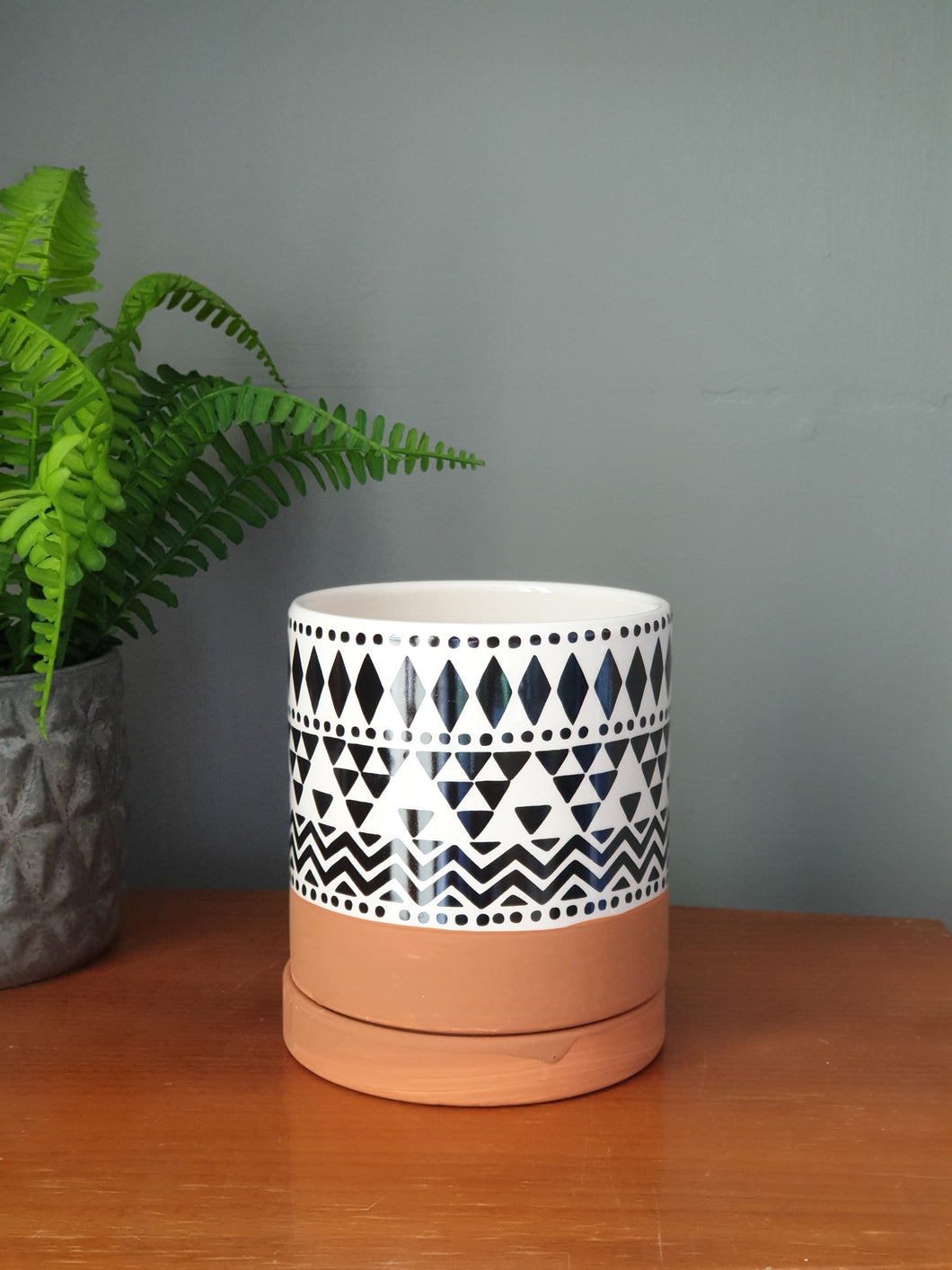 Sass & Belle Scandi Boho Tribal Geo Planter With Saucer