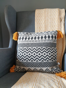 Sass & Belle Scandi Boho Mustard Tassels Cotton Cushion