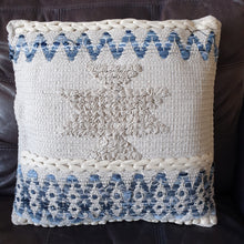 Load image into Gallery viewer, Blue and White Boho Cushion