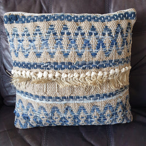 Blue and White Boho Cushion