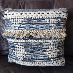 Blue and While Boho Cushion
