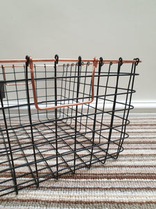 Set of 3 wire black and copper baskets