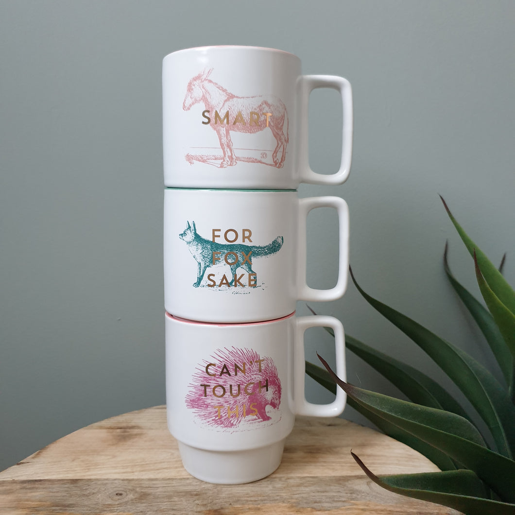 Set Of Three Stackable Sass Mugs