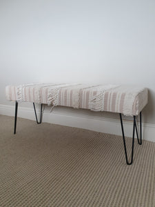Large Pink Boho Upholstered Hairpin Leg Bench