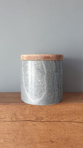 Small Grey Marble Wooden Storage Jar/ plant pot