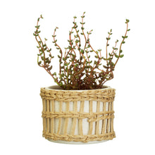 Load image into Gallery viewer, Sass & Belle Speckled White & Woven Planter