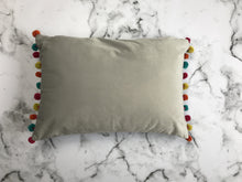 Load image into Gallery viewer, Dove grey pom pom cushion