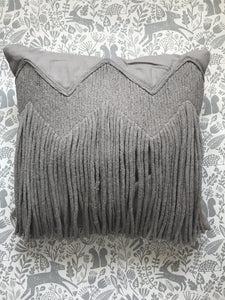Liv Interior Sand Grey Fringe Cushion