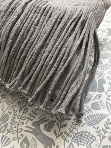 Liv Interior Sand Grey Fringe Cushion Cover