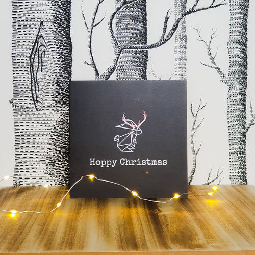 Hoppy Christmas Bunny Rabbit Greetings Card - Reindeer