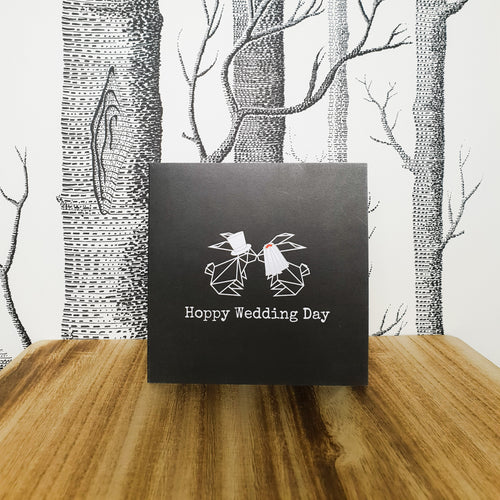 Hoppy Wedding Day Bunny Rabbit Greetings Card