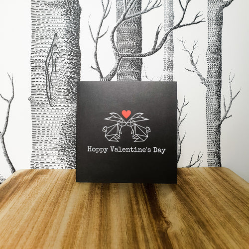 Hoppy Valentines Day Bunny Rabbit Greetings Card