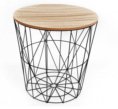 Black Wire & Wooden Top Side TableBlack Wire & Wooden Top Side Table
