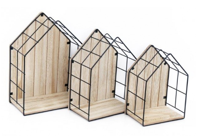 Set of Three House Shape Shelves