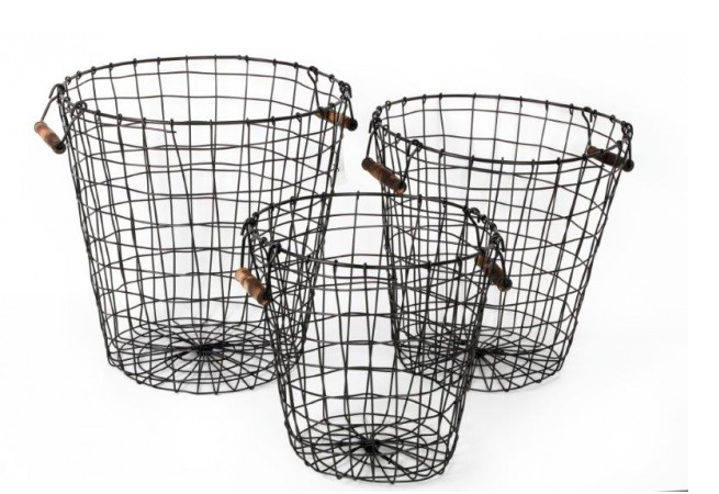 Set of Three Black Wire Baskets With Pine Handles
