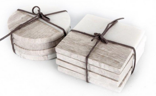 Set of Four Round Marble Coasters