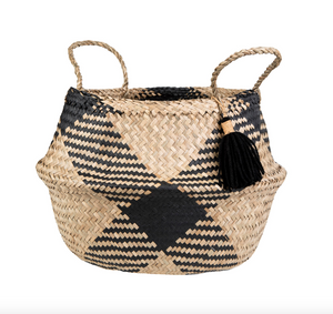Sass & Belle Seagrass Tribal Pattern Tassel Basket