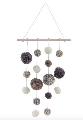 Sass & Belle Grey Pompom Mobile
