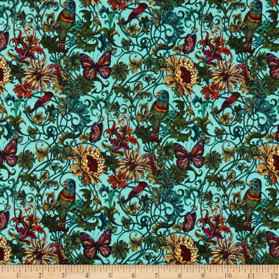 Exotico by Stof - Parrots in Turquoise
