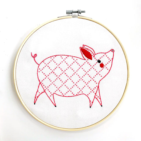 Farm Charm Embroidery Sampler - Little Piggy by Gingiber for Moda
