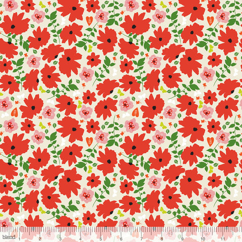 Blend Fabrics - Enchanted - Cosmos in Red