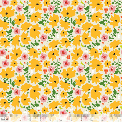 Blend Fabrics - Enchanted - Cosmos in Yellow