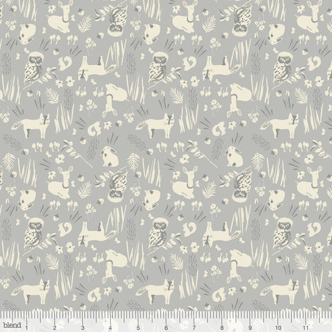 Blend Fabrics - Enchanted - Forest Friends in Grey