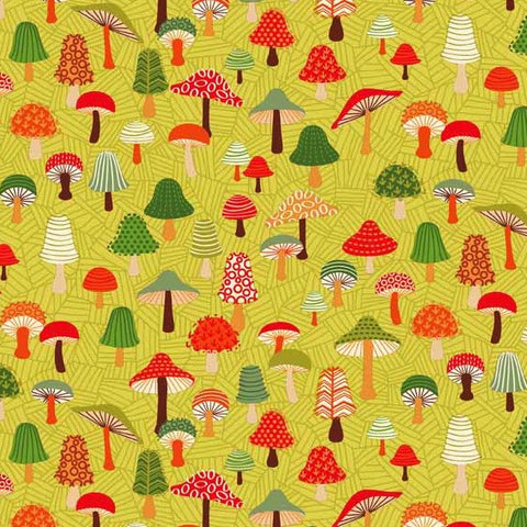 Makower Forest Friends Toadstools Yellow