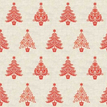 Makower Scandi Christmas Trees in Red