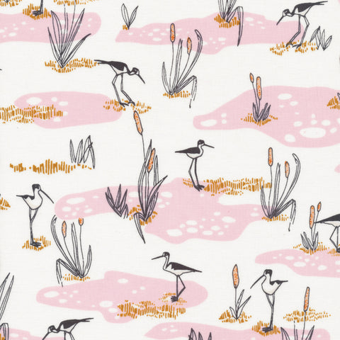Bird's Eye View Organic Cotton  - Wetland Cranes in Pink