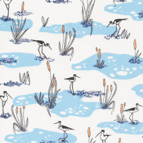 Bird's Eye View Organic Cotton  - Wetland Cranes in Blue