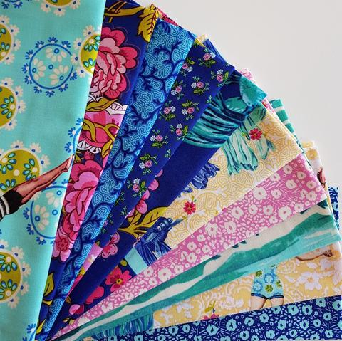 "Designer Bundle - ""Neptune and The Mermaid"" quilting cotton 10 x FQ"