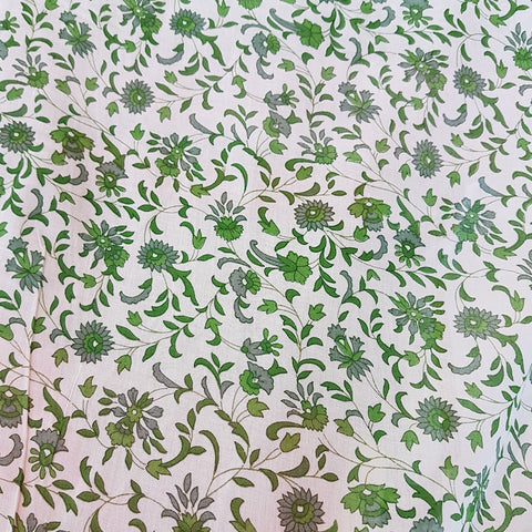 Block Printed Cotton  - Green Beauty with Border