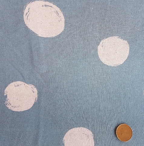 Yuwa Linen Blend - Hand Made Dots on Blue