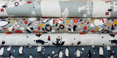 Designer Bundle - Waku Waku Christmas by Naoco Miyagawa  4x half yards