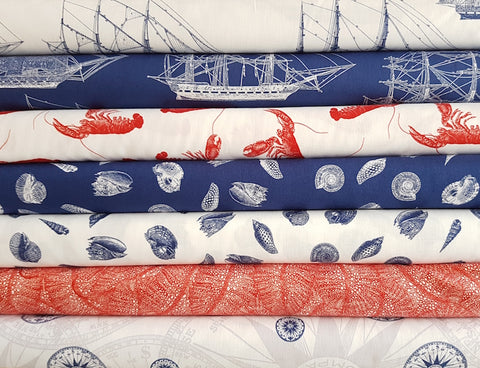 Nautical for Riley Blake - Sea leaf in red
