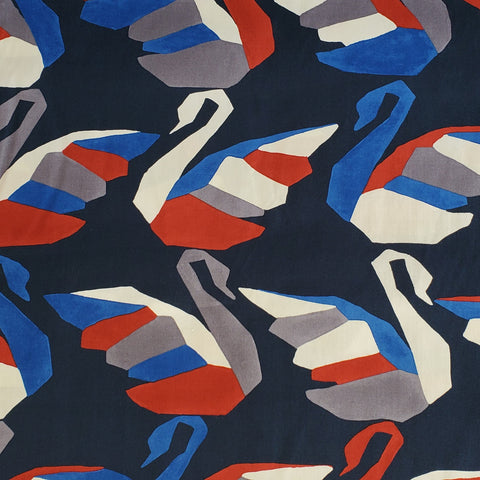 Hokkoh Cotton Poplin - Swans in Navy