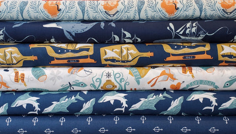 Rae Ritchie Sink or Swim - Whale Ships in Navy