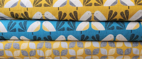 Dashwood Studios Nesting Birds LINEN/COTTON Blend - Blue Bird
