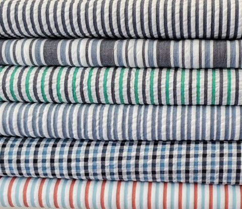 Robert Kaufman Seersuckers - Indigo wide stripe