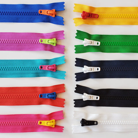 Colourful Zippers - Contrast tab large tooth zipper - Choose your colour