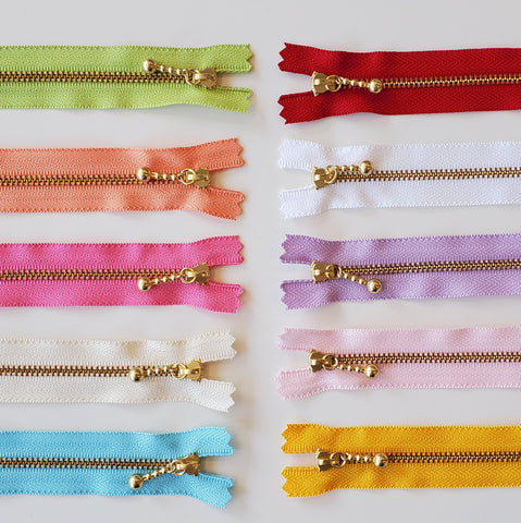 Ball Pull Metal Zippers - Gold in 20cm Lengths