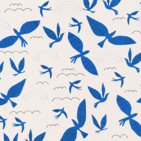 Leah Duncan No Place Like Home - Blue Birds Fly in Ivory/Blue - Organic Cotton