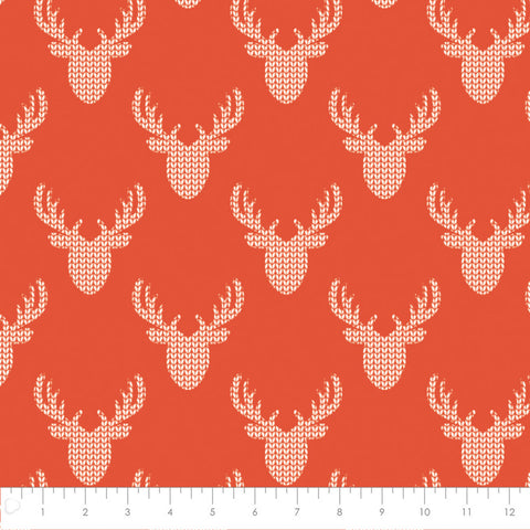 Camelot Fabrics - Reindeer Lodge - Knit Look Deer in Red