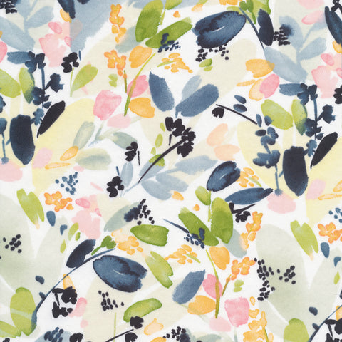 Field and Sky Organic Cotton Sateen by Yao Cheng - Floral in Indigo