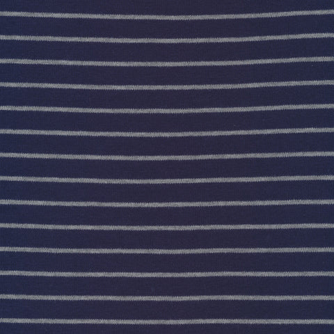 Cloud 9 Organic Cotton KNITS - Stripes in Blue/Heather Gray