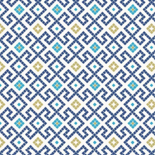 Lindos - Dark Blue Greek Tiles With Gold