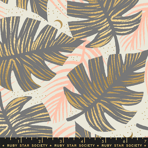 Florida by Sarah Watts - Shade Palms in Slate Grey - metallic