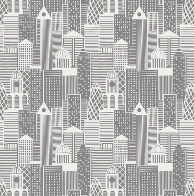 City Lights - City Buildings in Silver