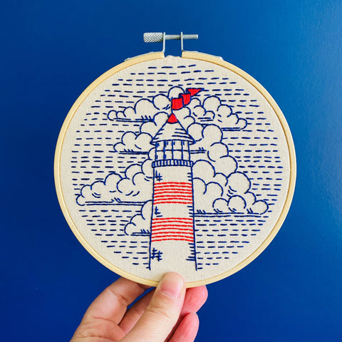 Hook Line & Tinker Embroidery Kit - Lighthouse